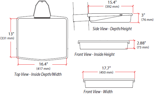 Technical Drawing for Ergotron 97-777-062 StyleView Front Tray