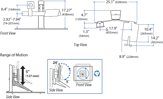 Technical drawing for Ergotron 97-907 WorkFit LCD & Laptop Kit