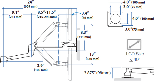 Technical drawing for Ergotron 97-940-026 LX Arm, Extension and Collar Kit