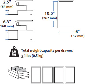 Technical drawig for Ergotron 97-991 SV Supplemental Storage Drawer, Double