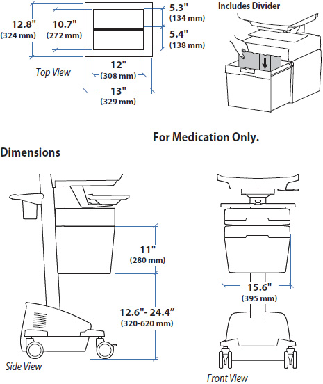 Technical Drawing for Ergotron 97-731 SV41 Envelope Drawer for StyleView non-powered Cart