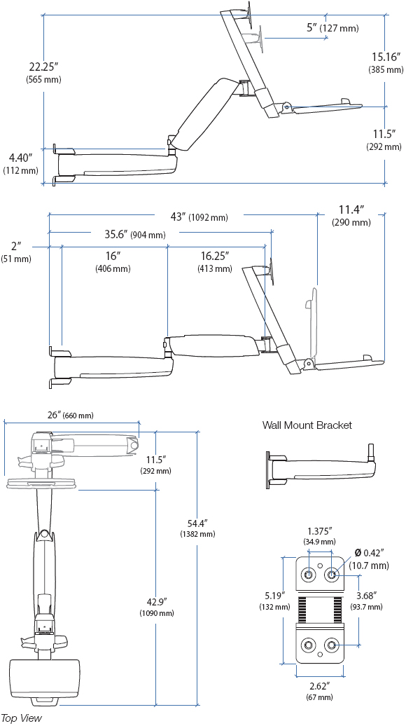 Technical Drawing for Ergotron 45-254-216 HD Extender
