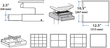 Technical Drawing for Ergotron 97-851 SV43/44 Supplemental Single Drawer
