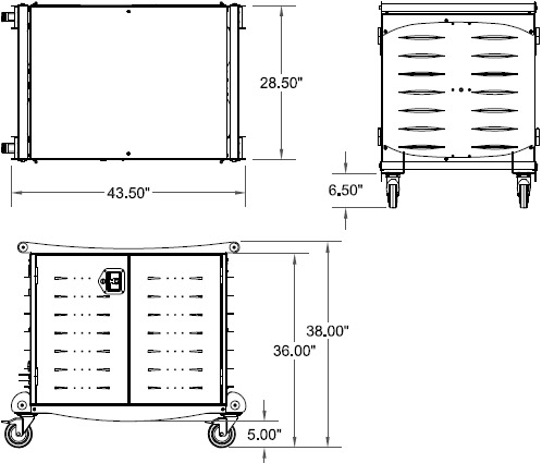Technical drawing for Ergotron LTSC30WH/SM LT30 Charging Cart for Laptops