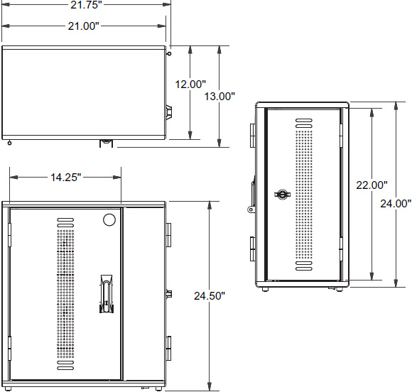 Technical drawing for Ergotron YESCABGMPW YES20 Charging Cabinet for Tablets