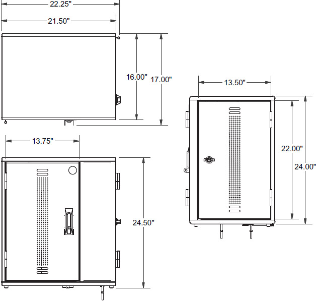 Technical drawing for Ergotron YESMLCGMPW YES12 Charging Cabinet for Mini‑laptops