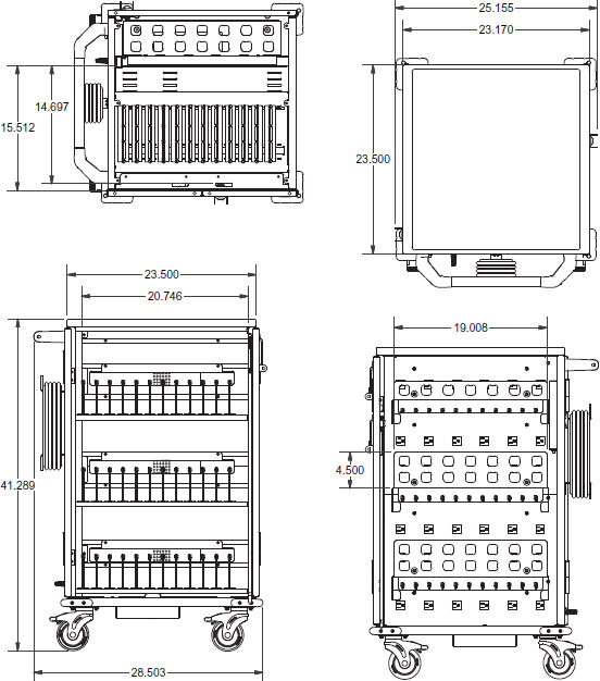 Technical drawing for Ergotron YESMOR2GMPW4 YES Charging Cart for Chromebook, Ultrabook