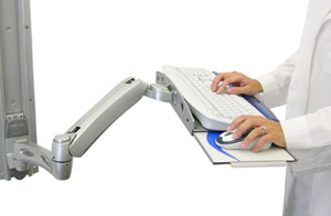 Ergotron 45-186-194 LX Wall Mount Keyboard Arm Silver inuse image