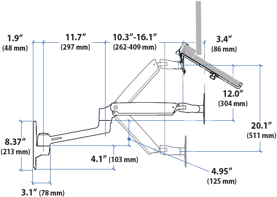 Technical drawing for Ergotron LX Sit-Stand Laptop Wall Mount Arm