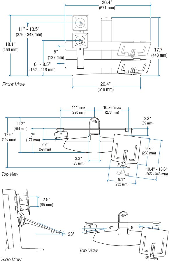 Technical Drawing for Ergotron 33-331-085 LCD and Laptop Stand