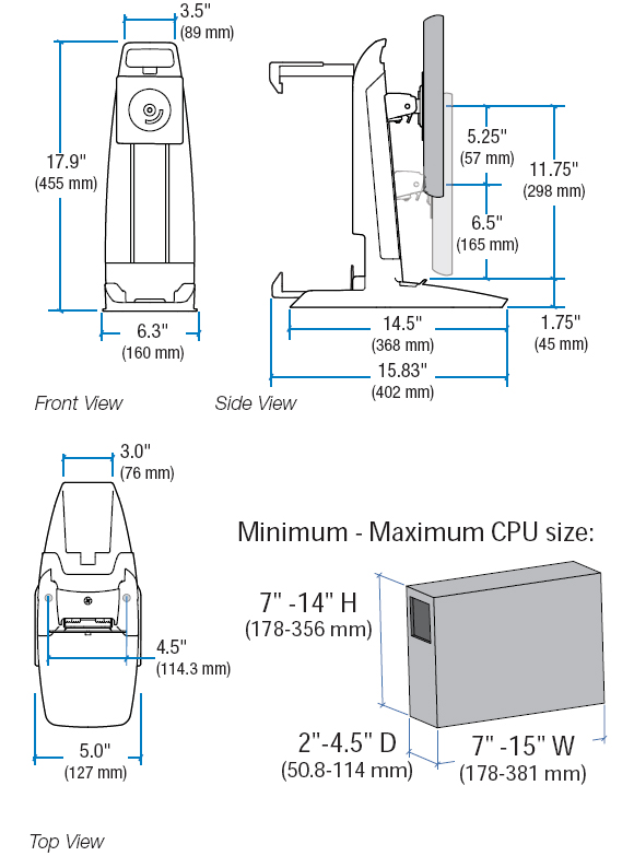 Technical Drawing for Ergotron 33-338-085 All-In-One SC Lift Stand