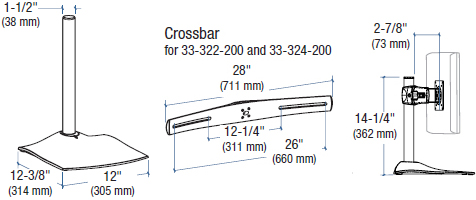 Drawing for Ergotron DS100 Dual-Monitor Desk Stand, Horizontal