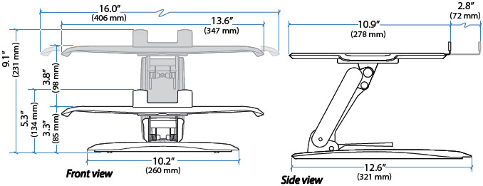 Technical drawing of Ergotron 33-334-085 Lift Stand