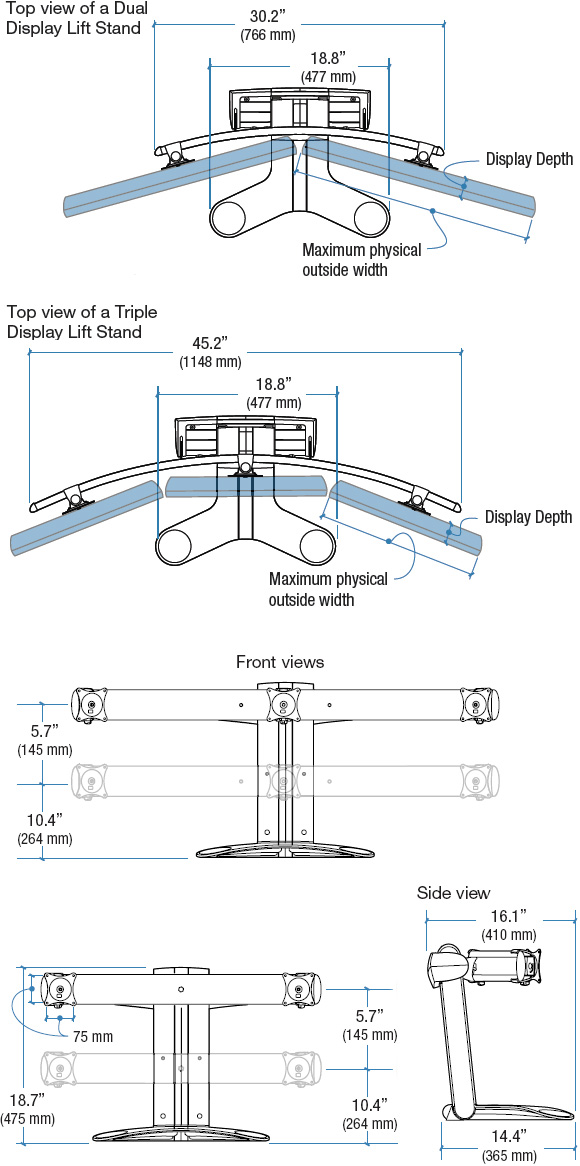 Technical Drawing for Ergotron 33-296-195 Lift Stand