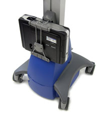 Close-up view of Ergotron SV22-22009 StyleView Dual Display Cart, Powered