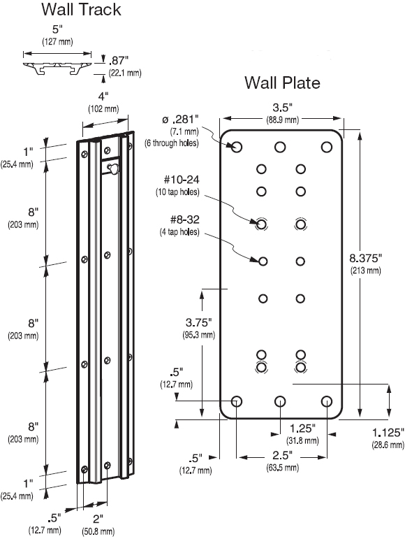 Dimensional Diagram for Ergotron Wall Plate and Wall Track