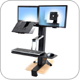 Ergotron 33-340-200 WorkFit-S LCD & Laptop Sit-Stand Workstation with Surface Mount Base