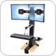 Ergotron 33-341-200 WorkFit-S Sit-Stand Workstation for Dual Displays, with Surface Mount Base