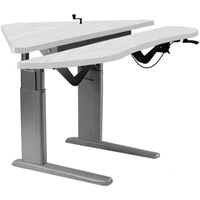 SIS Xtreme Crank Corner Duplex Bilevel Surface Height Adjustable Ergonomic Table