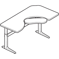 "Workrite Sierra Pin Offset Corner 2 Legs Keyboard Cutout Left or Right (22-34"") Height Adjustable Table"