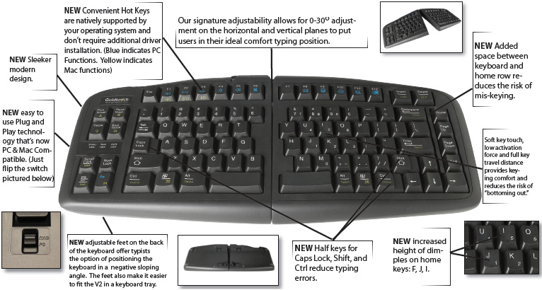 GoldTouch GTU-0088 PC and Mac Compatible V2 Adjustable Keyboard USB