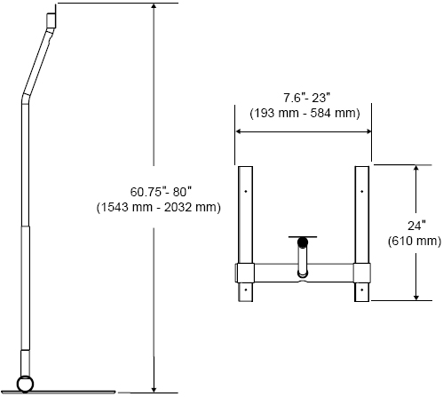 Technical Drawing for Peerless LCFS-100 Pedestal Floor Stand
