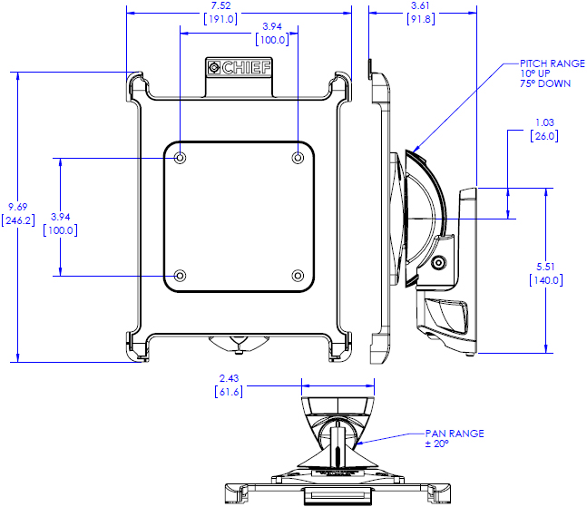 Technical Drawing for Chief K0W1I2B Kontour Pitch or Pivot Flush Mount with iPad Interface Bracket