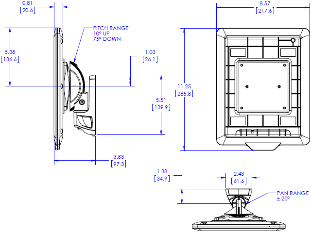 Technical Drawing for Chief K0W1I2TB Kontour Pitch or Pivot Flush Mount with Secure iPad Interface Bracket