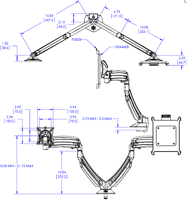 Technical Drawing for Chief K1D2I2B Kontour Dynamic Desk Clamp Mount with iPad Interface Bracket