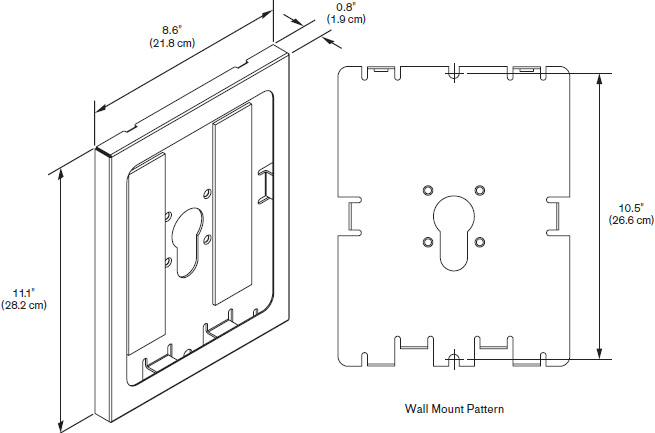 Technical Drawing for Innovative 8424 or 8424-NHB Secure iPad Holder