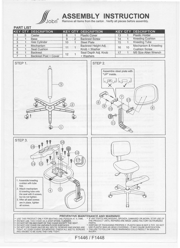 Jobri F1446 Betterposture Jazzy Ergonomic Kneeling Chair