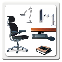 Humanscales seating, monitor arms, lighting, keyboard supports and other ergonomic accessories are designed to improve the health, efficiency and quality of work life