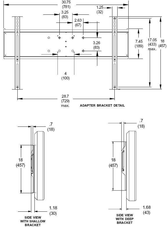 Technical Drawings for Peerless PLP-UNLP Universal Adapter Bracket Plate