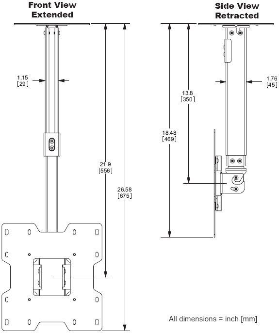 "Technical Drawing for Peerless PC-932B LCD Ceiling Mount for 15""- 37"" Screens"