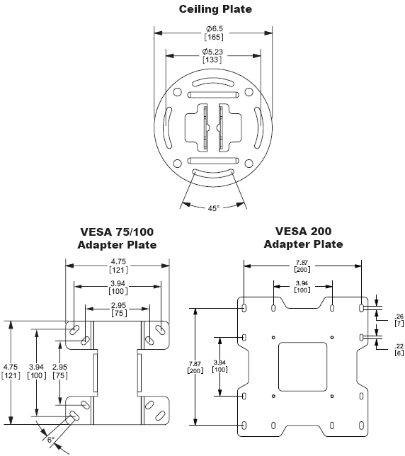 Drawing for Peerless Ceiling Plate and Adapter Plate