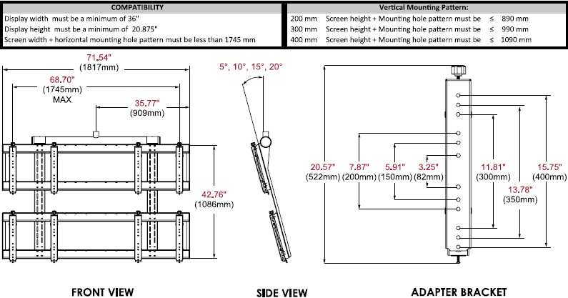 Technical drawing for Peerless DS-VWT955-2X2 Digital Signage 2x2 Video Wall Ceiling Mount