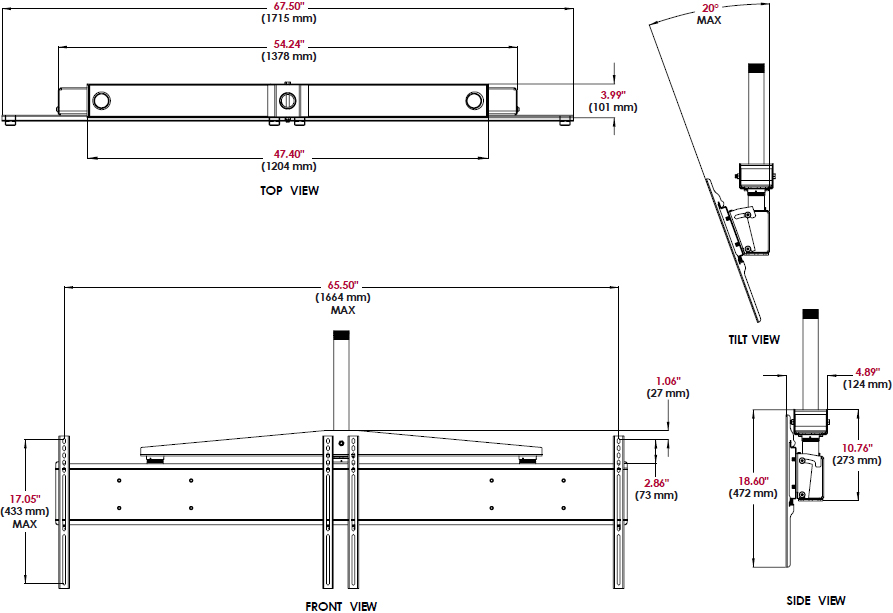 Technical drawing for Peerless DST940 Dual Display Ceiling Mount System