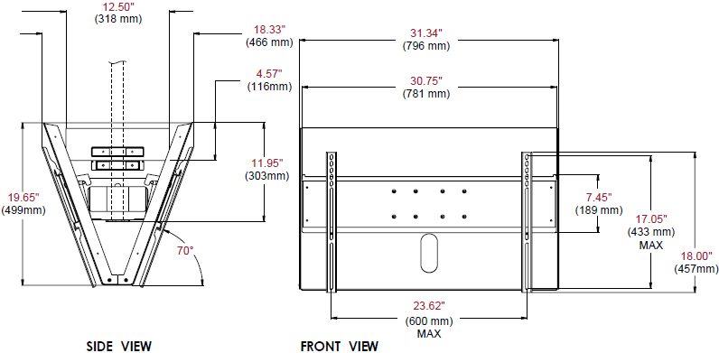 Technical Drawing for Peerless DST965 Back to Back Ceiling Mount