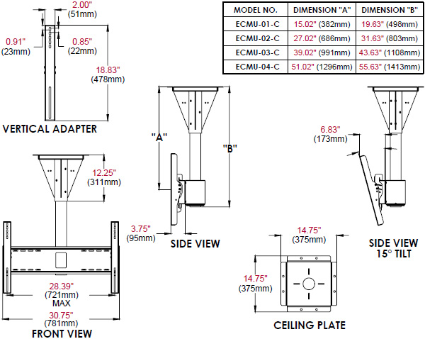 Technical Drawing for Peerless ECMU-C 1 to 4 feet Wind Rated Concrete Ceiling Tilt Mount