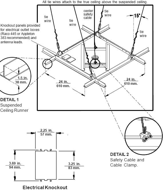 Technical Drawing for Peerless CMJ 450 Suspended Ceiling Plate