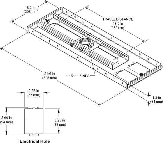 Technical Drawing for Peerless CMJ500 Lightweight Adjustable Suspended Ceiling Plate