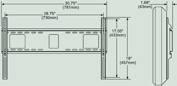 Dimensional Diagram for Peerless PF-660 Paramount Flat Wall Mount PF660