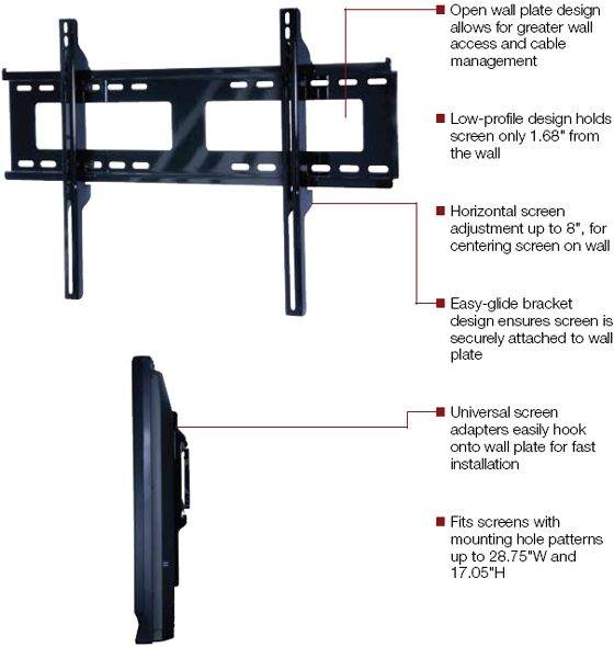 Peerless PF650 Paramount Flat Wall Mount for 32 to 50 inch LCD Screen