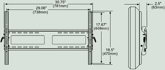 Dimensional Diagram for Peerless PT650 Paramount Flat Wall Mount PT-650