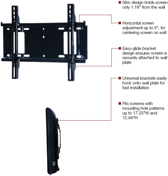 Peerless Pf640 Pro Flat Wall Mount For 23 To 46 Inch Lcd