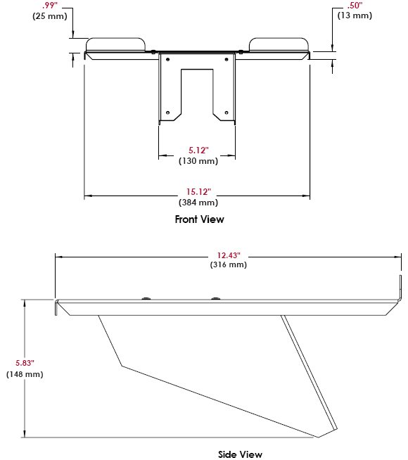 Technical Drawing for Peerless ACC328 Laptop Notebook Tray