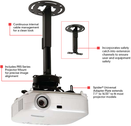 Rless Prs Exa Adjule Projector Ceiling Or Wall Mount Pra