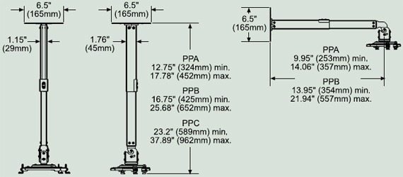 Dimensional Diagram for Peerless PPC Paramount Projector Ceiling Mount