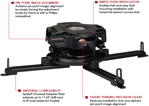 Peerless PRG-UNV PRG Precision Gear Projector Ceiling Mount for Multimedia Projectors