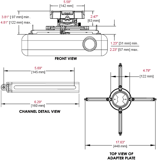 Technical Drawing of Peerless PRG-UNV Precision Gear Projector Ceiling Mount